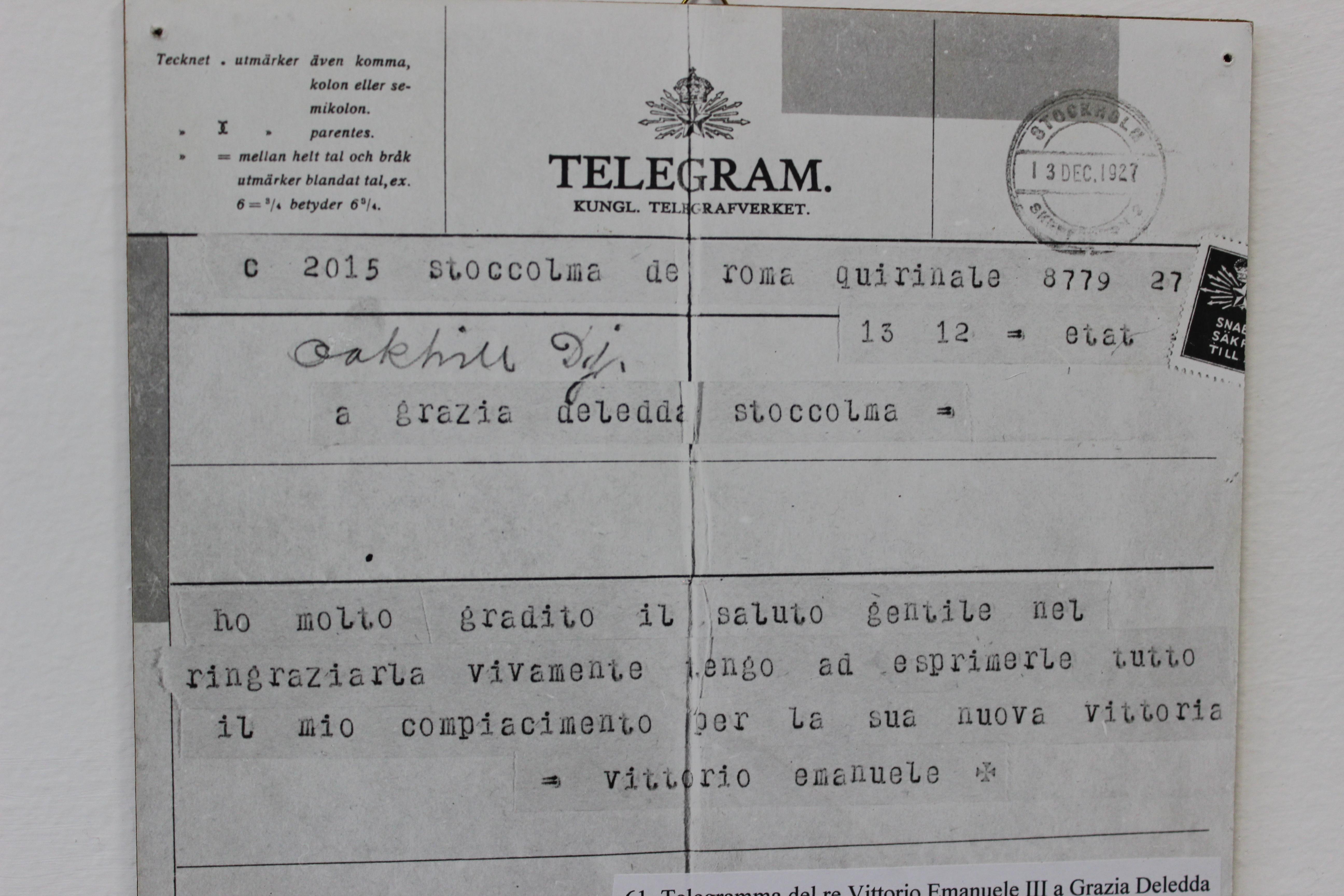 Telegramma del Re Vittorio Emanuele in occasione del conferimento del Premio Nobel